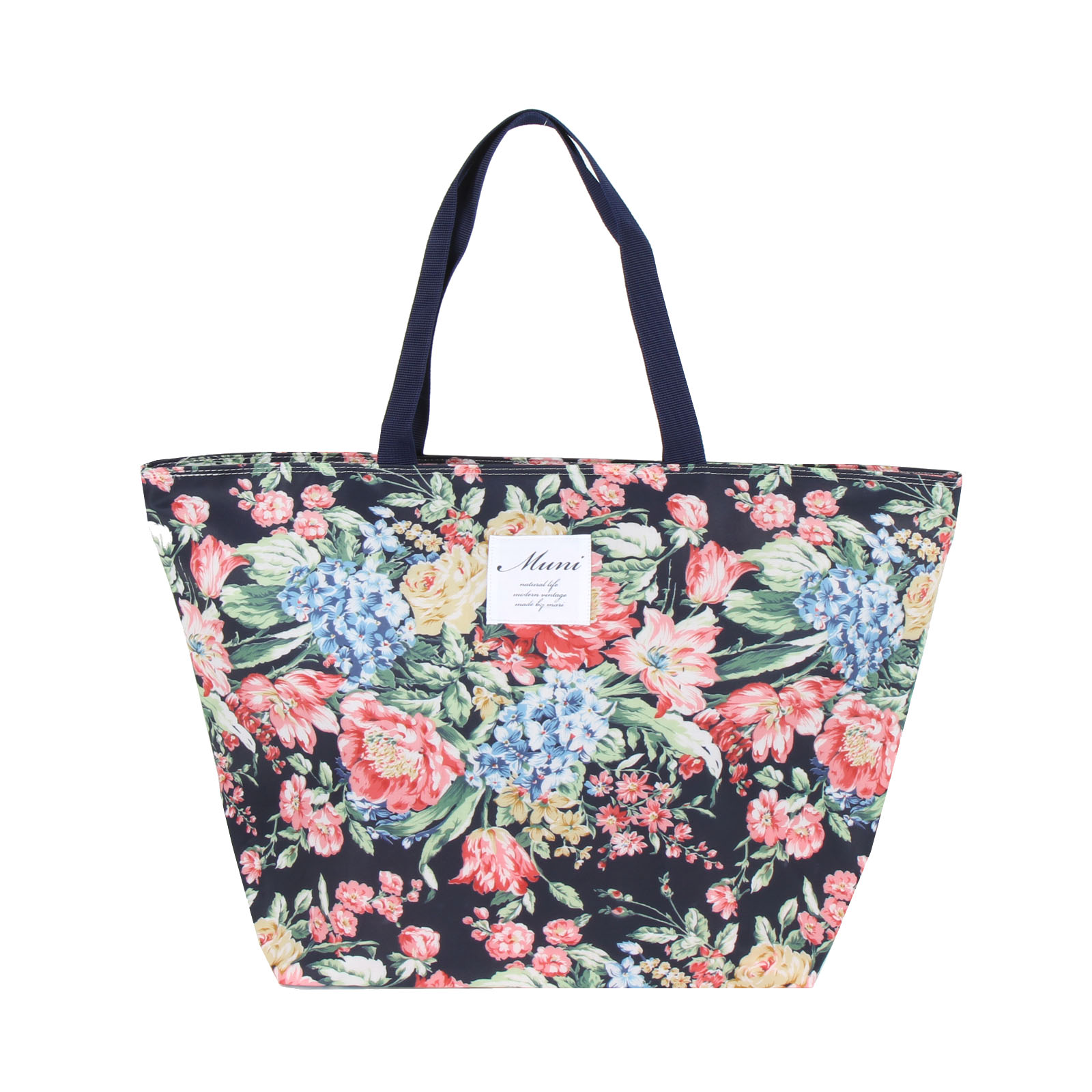 Flora Koh Muni Navy Blue Floral Large Shoulder Bagflorakoh