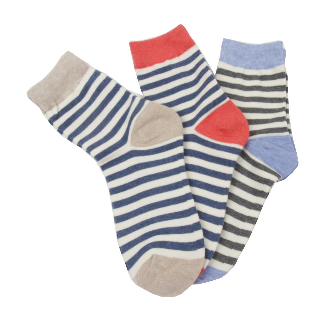 359d9664f4 FloraKoh Women's Cotton Crew Socks 3-Pack Striped