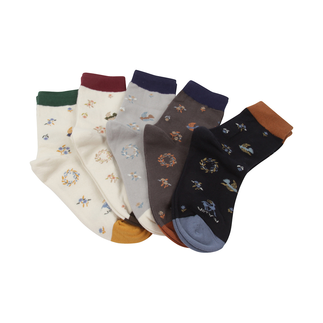 FloraKoh Womens Cotton Crew Socks 5 Pack Gardenflorakoh